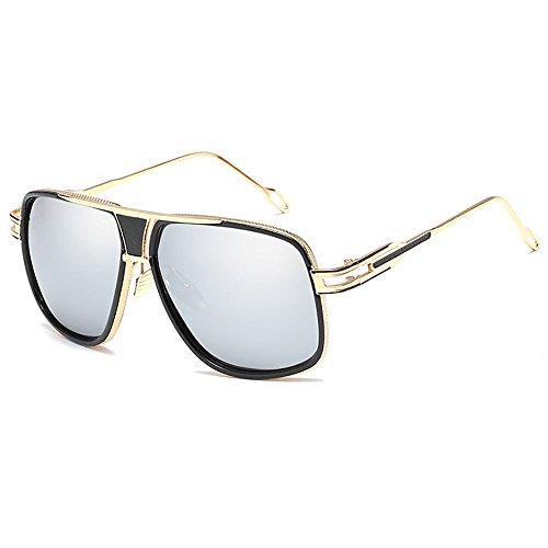 de Baratas Aviador Marco Mujer Espejo metal Hombre y Retro Marca Cuadrado Gafas de de Lujosa para Plateado Sol estilo Vintage Moda nwqz6ZA