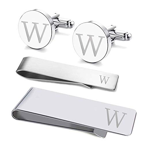 (BodyJ4You 4PC Cufflinks Tie Bar Money Clip Button Shirt Personalized Initials Letter W Gift Set)