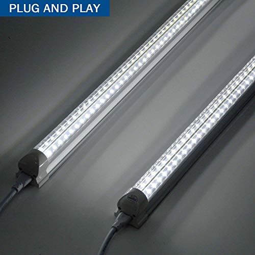 8Ft LED Shop Light Fixture, 72W Integrated LED Tube Light, 7200LM, 6500K, Double Row V Shape 270 Degree Lighting LED Bulbs for Garage Warehouse Workshop Basement, Plug and Play (Pack of 4) by LDSS (Image #7)