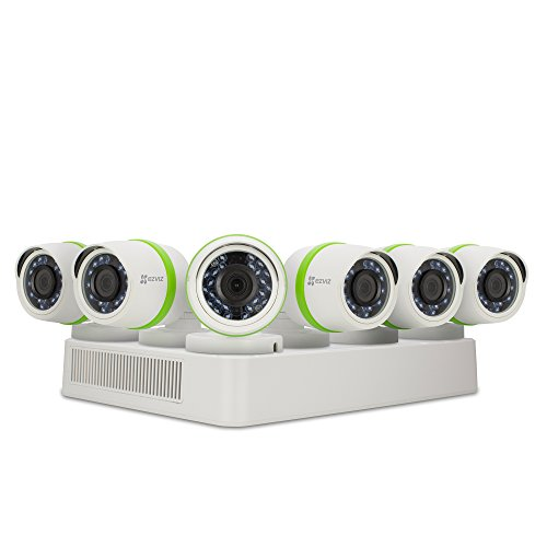 EZVIZ FULL HD 1080p Outdoor Surveillance System, 6 Weatherproof HD Security Cameras, 8 Channel 2TB DVR Storage, 100ft Night Vision, Customizable Motion Detection