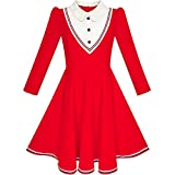 Sunny Fashion LP66 Girls Dress School White Collar Red Long Sleeve Striped Size 10