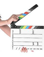 Professional Studio Camera Photography Video Acrylic Clapboard Dry Erase Director Film Movie Clapper Board Slate with Color Sticks(9.6x11.7 /25x30cm), White