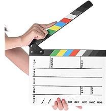 "Professional Studio Camera Photography Video Acrylic Clapboard Dry Erase Director Film Movie Clapper Board Slate with Color Sticks(9.6x11.7"" /25x30cm), White"