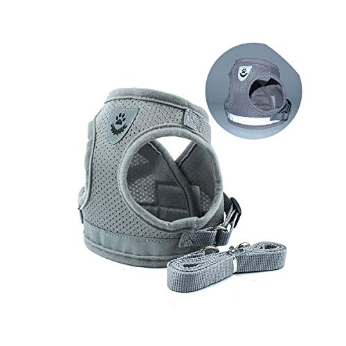 PG-One Nylon New Dog Leash Vest pet Chest Strap Reflective Dog Rope Vest Leash Harnesses,Gray,XS Chest - Stakes T-bar