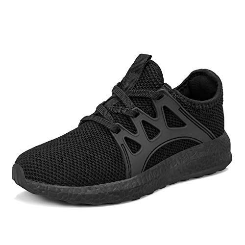 domirica Kids Boys Girls Running Shoes Comfortable Fashion Light Weight Slip on Sneakers Black