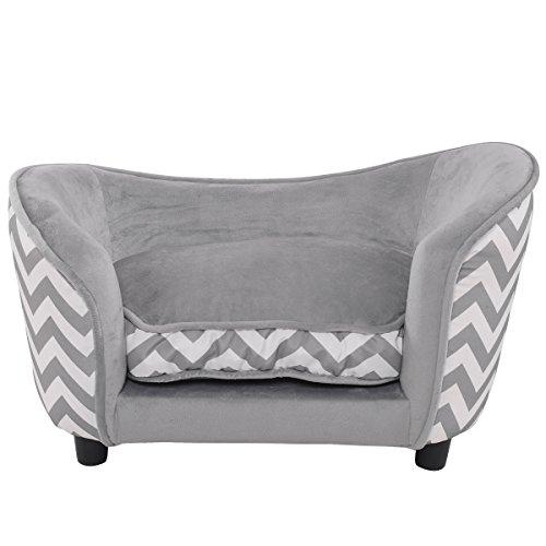 Giantex Pet Sofa Ultra Plush Snuggle Soft Warm Dog Puppy Sleeping Bed w/ Cushion Gray
