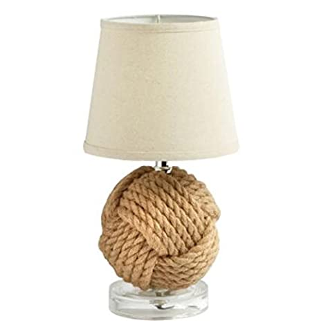 """14"""" Nautical Monkey's Fist Knot Table Lamp (Lamps For Bedrooms Beach)"""