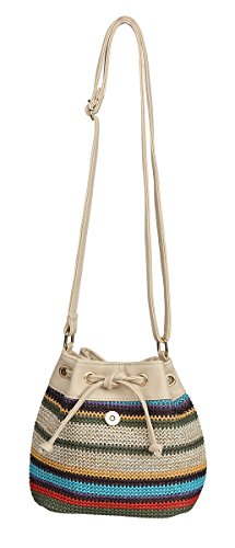 Multicolored Striped Raffia Leather Drawstring Cross Body Straw Bucket Bag (Tan)