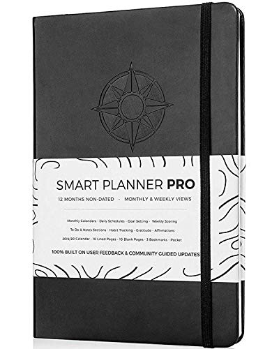 Planner 2019-2020 - Tested & Proven to Achieve Goals & Increase Productivity, Time Management & Happiness - Daily Weekly Monthly Planner with Gratitude Journal, Hardcover, Undated (Black) (Best Cheap Notebooks 2019)