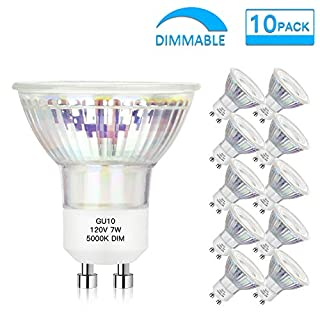 Dimmable GU10 LED Spotlight Bulbs 7W(50W 60W Equivalent), Daylight White 5000K GU10 Track Light Bulbs, 600Lumens, 25000+ hrs, Flood Light, MR16 Full Glass Cover Bulb (Pack of 10)