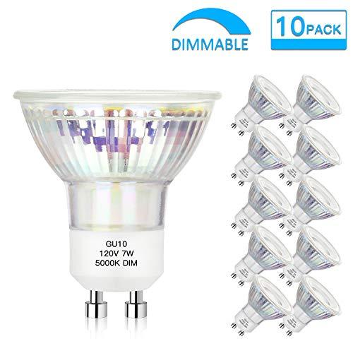 GU10 LED Bulbs 7W(50W 60W Equivalent), Dimmable LED Light Bulbs Daylight White 5000K 600Lm, Flood Light, MR16 Full Glass Cover Bulb for Cabinet, Spotlight, Recessed Light, Accent Lighting(Pack of 10)
