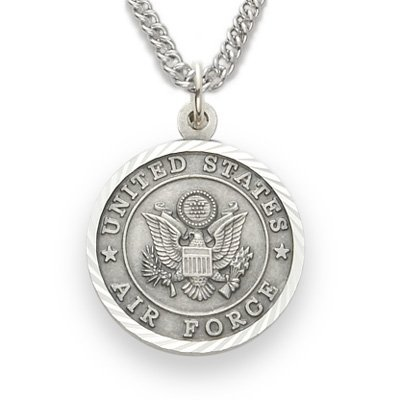 (TrueFaithJewelry Sterling Silver United States Air Force Medal with Saint Michael Back, 3/4 Inch)