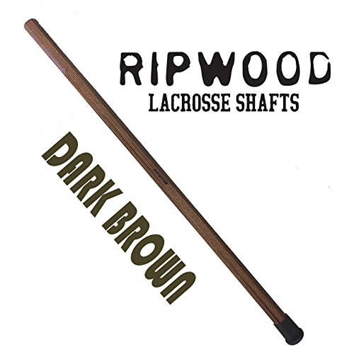 Wood Brown Shaft (RipWood Dark Brown Solid Ash Wood Lacrosse Shaft / Stick / Handle (made by hand in the USA) with Jimalax End Cap)