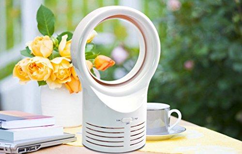 Outgeek Mini Bladeless Fan Mini Air Conditioner Fan Round Shaped Desktop Breeze Fan Safe Electric Cooling Fan by Outgeek