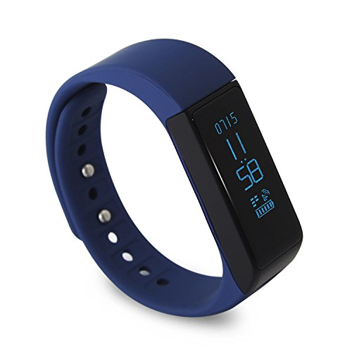 LUCOG Fitness Tracker Smart Bracelet Wristband - I5 Plus Activity Tracker Wellness Smart Watch Health Sleep Monitor w/ Step & Calorie Counter Morning Waking Up Vibration Alarm (Blue)
