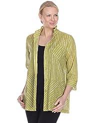TERRA SJ APPAREL Womens 3/4 Sleeve Blouse with Convertible Collar