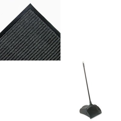 KITCWNNR0046GYRCP253100BK - Value Kit - 4' x 6' Needle Rib Mat, Charcoal (CWNNR0046GY) and Rubbermaid-Black Lobby Pro Upright Dust Pan, Open Style (RCP253100BK) by Crown