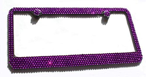 Hotblings 6 Row PURPLE Rhinestone Crystal Bling Metal License Plate Frame & Caps Set