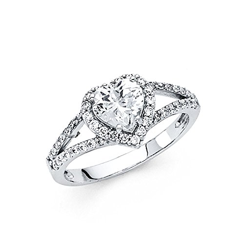 Size 7 - Solid 14k White Gold Heart Shape Solitaire with Round Side Stones, Authenticated with a 14k Stamp Engagement Ring 2.0ct.