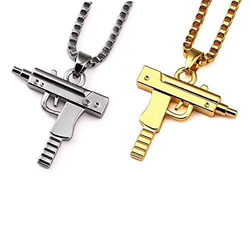 Meiligo Fashion Womens Mens Zinc Alloy Hip-hop Machine Gun Necklace Hand Gun Pistol Pendant