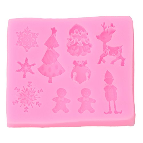 Rurah Christmas Theme Deer Silicone Fondant Mold Snowflake Cake Molds DIY Chocolate Cookie Decorating Tool ()