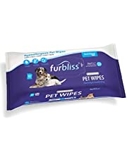 Furbliss Hygienic Pet Wipes for Dogs & Cats, Cleansing Grooming & Deodorizing Hypoallergenic Thick Wipes with All Natural Deoplex Deodorizer, Unscented - by Vetnique Labs … (100ct)