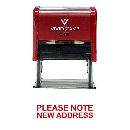 Stamp Large Rubber New - Please Note New Address Self Inking Rubber Stamp (Red Ink) - Large