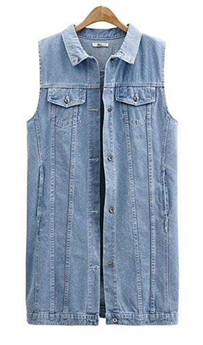 GRMO-Women Vintage Sleeveless Button Down Ripped Long Denim Vest Waistcoat Light Blue US XL (Vintage Denim Vest)