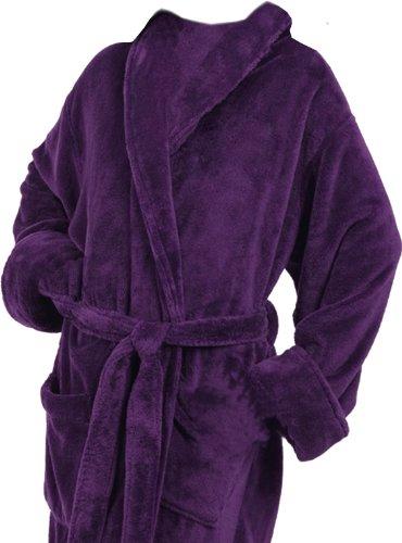 Tri Color Robes Plush Microfiber Purple Customizable Full Monogrammed Bathrobes Her Him (Monogram Bathrobes)