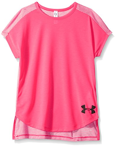 Under Armour Girls' Threadborne Play Up T-Shirt, Penta Pink/Penta Pink, Youth X-Large (Girls Shirts Under Armour)