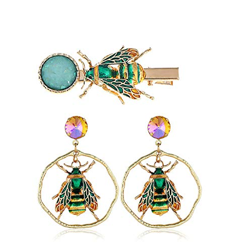 (ballboU-3 Pcs Women Girls Personality Insect Shape Earrings Hairpin Set)