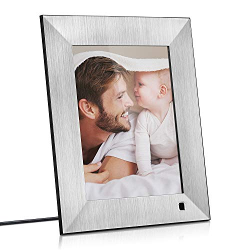 NIX Lux 8 Inch Digital Picture Frame (Silver) - IPS Display, Auto-Rotate, Motion Sensor