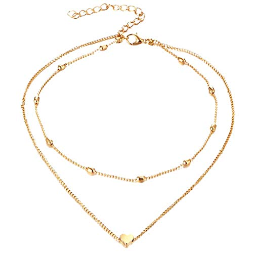 Nihewoo Womens Layered Choker Y Necklaces Delicate Heart and Bar Necklace Chokers Necklace Hammered Bar Pendant Necklace (Gold) ()