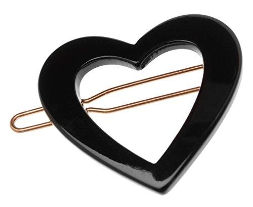 France Luxe Mini Heart Tige Boule Barrette - Black (France Luxe Mini)