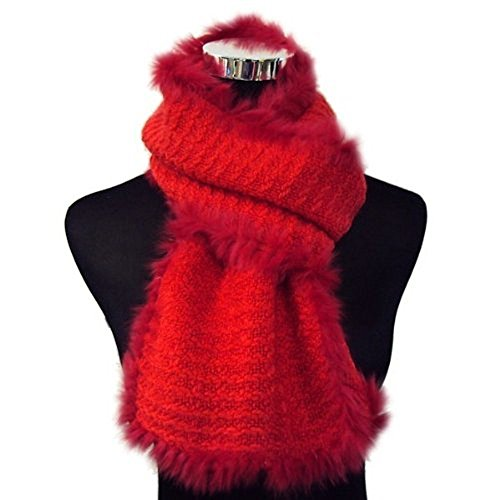 Angora Scarf - Bridal Wedding Dinner Party Angora Rabbit Fur Edged Wool Scarf Shawl Wrap - RED