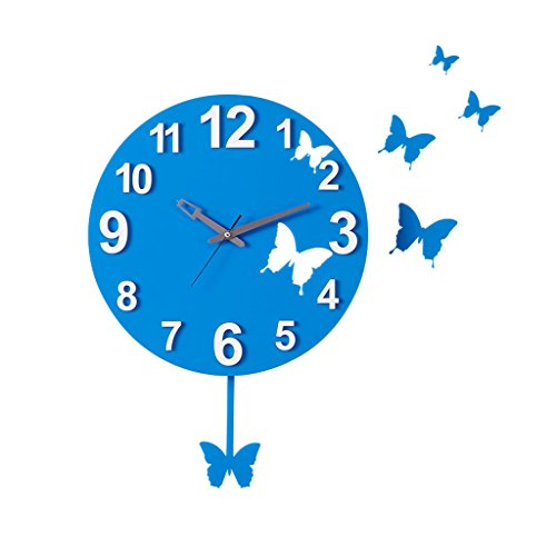 TIANTA- blue butterfly decoration swing wall clock Quartz clock decoration Wall clock bedroom Mute Pocket watch pendulum clock Crafts decorate by WEEDAY