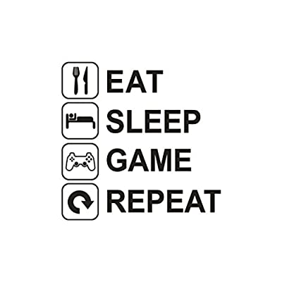 REYO Wall Sticker - Eat, Sleep, Game, Repeat Logo, DIY Removable Decals Art Vinyl Mural Home Room Decor