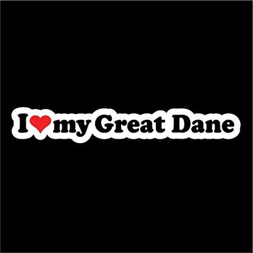 KCD I Love My Great Dane Dog Vinyl Decals Stickers(Two Pack!!!) Cars Trucks Vans Walls Laptops Cups|Full Color|2-7.5 X 1 in Decals|KCD799