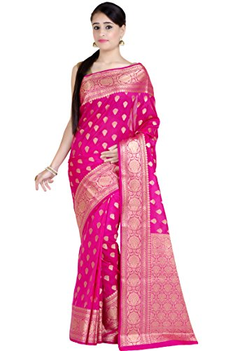 Chandrakala Women's Pink Kataan Silk Banarasi Saree
