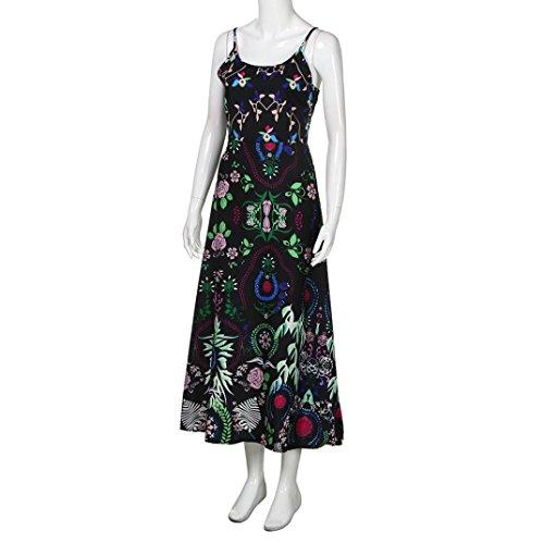 de verano de florales flecos Bohemia largo mujer de playa Vestido Dragon868 jóvenes las Vestido con Verde de mujeres 5vqxACwC