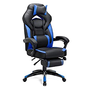 SONGMICS Gaming Chair, Office Racing Chair with Footrest, Ergonomic Design, Adjustable Headrest, Lumbar Support, 150 kg…