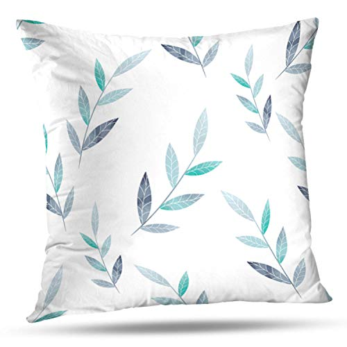 HAPPYOME Decorative Throw Pillow Covers Blue Blossom Spring with Flowers and Plants Flower Floral PlantPillow Case Cushion Cover for Bedroom Livingroom Sofa 18X18 Inches