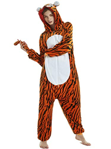 Adult Onesie for Women Plus Size Halloween Costumes Men Tiger Animal Pajamas -