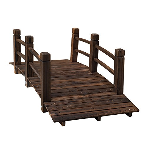 Outsunny 5′ Wooden Rustic Arched Garden Bridge with Railings – Stained Wood