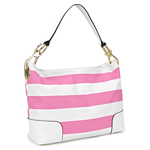 (Classic Women Hobo Shoulder Bag Ladies Tote Purses Handbag with Big Snap Hook (Large-Pink and White))