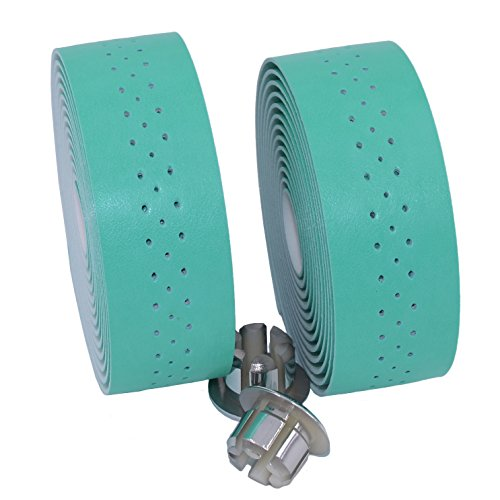 KINGOU Handlebar Tape Luxury PU Leather Bar Tape Fixed Gear/Road Bike Bar Wrap with 2 Reflective Plug (Mint Green)