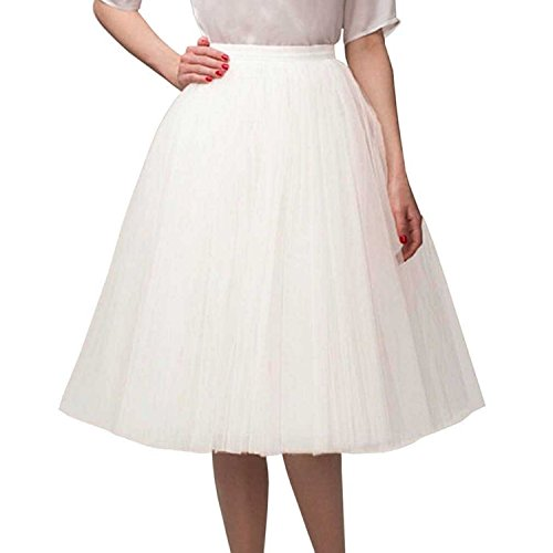 [Belle House Lady's White Tulle Princess Skirt Mid/ Knee Length Skirts] (Plus Size Tutu Skirt)
