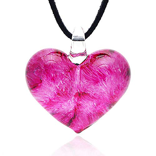 Chuvora Hand Blown Venetian Murano Glass Rose Pink Heart Shaped Pendant Necklace, 18-20 - Venetian Necklace Glass