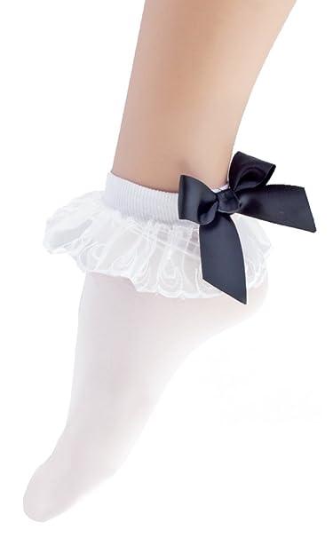 Funny Fashion Medias Blancas con volantes y lazo para mujer - Patucos para años 50 y 60 Retro Disfraz: Amazon.es: Juguetes y juegos