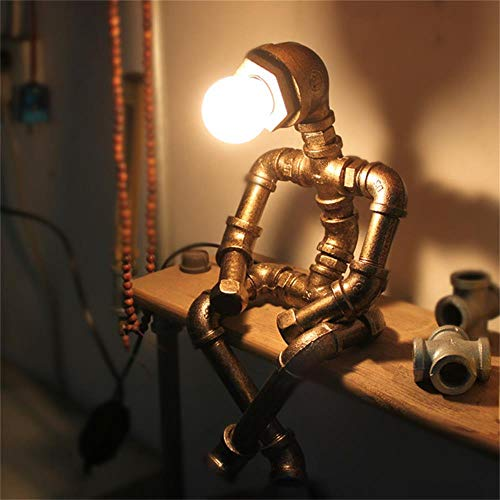 XYYMC Decorative Desk Lamp LED Eye Protection Industry Retro Gift Coffee Bar Water Pipe Robot Table Lamp